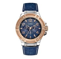 GUESS Denim and Rose Gold Tone Rigor Standout Casual Sport Watch Water Resistant Dark Indigo Blue Denim Patterned Dial Leather Strap - 2014 High Summer Pre Fall Autumn Fashion Season Collection Accessories - Made in Denim Finds Jeanswear Style