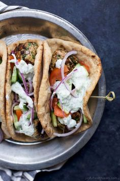 Greek Turkey Meatball Gyro with Tzatziki (serves - 30 Minute Greek Turkey Meatball Gyros topped with a classic Tzatziki Sauce you'll want to swim in! These Gyros are the perfect healthy dinner option for the family and clock in 429 calories! Healthy Dinner Options, Quick Dinner Recipes, Healthy Dinner Recipes, Cooking Recipes, Delicious Recipes, Easy Recipes, Healthy Dinners, Recipes With Tzatziki Sauce, Barbecue