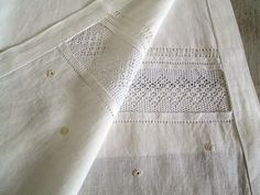 Linen and lace curtain Linen net curtain with by linenartisan