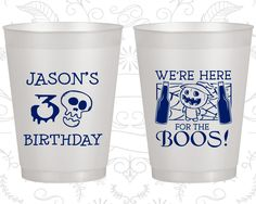 30th Birthday Frosted Cups, Pumpkin Birthday, Halloween Birthday, Frosted Birthday Cups (20290)