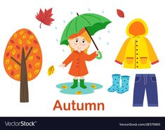 Isolated autumn set with girl tree and clothes vector image on VectorStock Montessori Activities, Preschool Math, Toddler Activities, Kids Yoga Poses, Yoga For Kids, Animals Name In English, Seasons Lessons, Butterfly Crafts, Colouring Pages