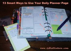 Giftie Etcetera: 13 Genius Items to Include in Your Planner; New Ways to Use a Planner; Franklin Covey Day on 2 Pages; Day-on-two-pages by Franklin Planner; Planner Inserts