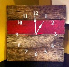 Reclaimed Aged Pallet Wood Wall Clock Red, Hand Painted Upcycled Repurposed (74…