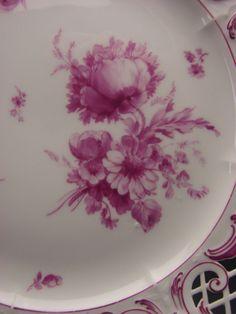 Antique KPM German Porcelain Porzellan Reticulated Hand Painted Plate Set of 11