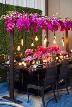 Light bulb wedding design. Purple orchids Masculine design. Black wedding ideas
