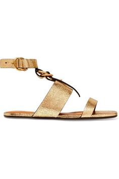 Chloé - Metallic Cracked-leather Sandals - Gold - IT37.5