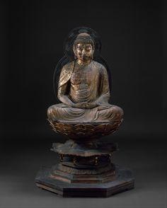 Amida Nyorai. Period: Kamakura period (1185–1333). Date: ca. 1250. Culture: Japan. Medium: Wood with lacquer and cut-gold decoration.