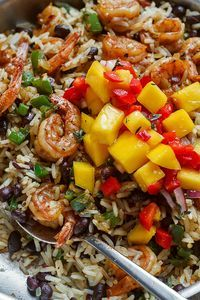 Spicy Jerk Shrimp, Rice and Black Beans – An easy, light dinner, with so much flavor and cooked all together in just one pan!