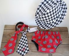 Alabama  Houndstooth Roll TIDE Fedora Bear Bryant  Baby boy Hat  Bloomers/ diaper cover  Bama necktie. monogram / boy cake smash outfit on Etsy, $13.50