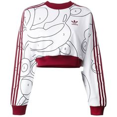 Adidas Originals cropped long sleeve sweatshirt ($60) ❤ liked on Polyvore featuring tops, hoodies, sweatshirts, sweaters, shirts, sweatshirt, adidas, white shirt, striped shirt and graphic shirts