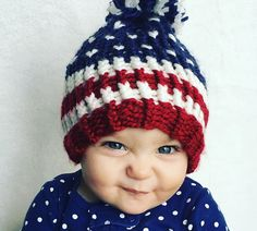 d561e9bb8f8 American Flag baby hat 4th of July baby knit by OrphaBeatrice July Baby