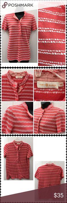 TORY BURCH Lidia Short Sleeve Shirt Sz Medium Cute short sleeve shirt by TORY BURCH. Coral/White stripe. Polyester/Rayon Sz Medium Tory Burch Tops