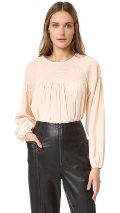Tibi Smocked Silk Blouse