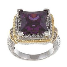 Silver and Goldtone Large Square Amethyst CZ Ring. Available in sizes 6 through 9 * Discover this special product, click the image : Jewelry Ring Statement