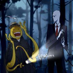 It's Koro-sensei from assasination classroom and slenderman! I love both assasination classroom and creepypasta! Otaku Anime, Manga Anime, Art Manga, Anime Art, Fandom Crossover, Anime Crossover, Creepy Pasta Family, Creepypasta Cute, Anime Shows