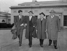 : Four congressmen from Massachusetts are shown leaving the White House today after an appointment with President Truman. Left to right: Rep. John F. Kennedy (D), Boston; Rep. Foster Furcolo (D) of Springfield; Rep. Philip J. Philbin (D), Clinton and Harold D. Donohue (D) of Worcester. Date Photographed:12 April 1949