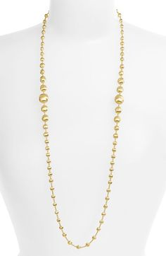 Free shipping and returns on Marco Bicego 'Africa Gold' Graduated Long Strand Necklace at Nordstrom.com. Asymmetrical 18-karat gold beads are beautifully formed and engraved by hand to give brilliant shimmer on a breathtaking necklace.