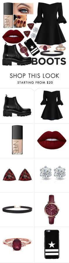 """Burgundy and Black💋"" by herlittleheart ❤ liked on Polyvore featuring Prada, Chicwish, NARS Cosmetics, Lime Crime, French Connection, Humble Chic, FOSSIL and Givenchy"