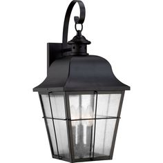 Millhouse Mystic Black Three Light Outdoor Wall Fixture Quoizel Wall Mounted Outdoor Out