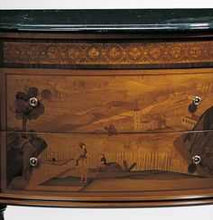 inlaid luxury furniture - 18th-century Italian style chest in walnut and chestnut veneer inlaid with boxwood, pear and maple, black Marquina marble top and antique goldleaf accents