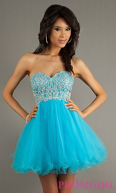 Beaded Lace Up Baby Doll Dress by Alyce Paris 3570 at PromGirl.com