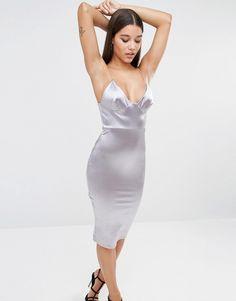 Image 1 ofClub L Satin Cami Strap Midi Dress