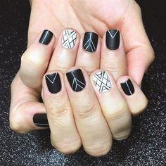 Nails by Sarah Waite Cute Nail Art Designs, Black Nail Designs, Gel Nail Designs, Pedicure Nail Art, Gel Nail Art, Lee Nails, Line Nail Art, Geometric Nail Art, Lines On Nails