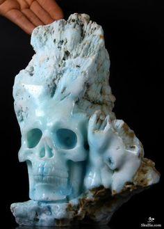 Jun 2014 ACSAD (A Crystal Skull a Day) - Visitor from the Iceberg - Blue Aragonite Carved Crystal Skull Sculpture Hand Carved, Carved Skulls, Rock Hand, Sugar Skull Art, Rock Collection, Crystal Skull, Rocks And Gems, Skull And Bones, Gems And Minerals