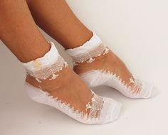 Leg warmers – Hosiery, White Socks, Lace Socks – a unique product by missglory on DaWanda