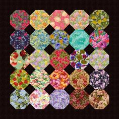 Surround Floral Snowball Quilt Blocks With Black to Sew a Lovely Quilt: How to Make Floral Snowball Quilt Blocks