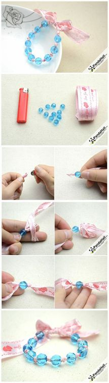 Jewelry Making Tutorial--How to Make Bracelet with Ribbon and Beads | PandaHall Beads Jewelry Blog