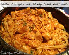Chicken & Linguine with Creamy Tomato Basil Sauce Recipe ~ Easy-peasy one-pot pasta dish... this is also wicked good with Italian sausage instead of chicken