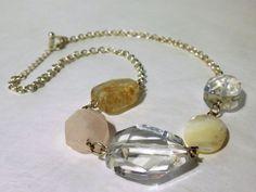 AEO American Eagle Outfitters Silver Tone Crystal Semi Precious Stone Necklace #AmericanEagleOutfitters #Collar