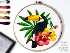 Etsy :: Your place to buy and sell all things handmade Cross Stitch Bird, Cross Stitch Flowers, Cross Stitching, Cross Stitch Embroidery, Embroidery Patterns, Print Patterns, Pattern Designs, Modern Cross Stitch Patterns, Cross Stitch Designs