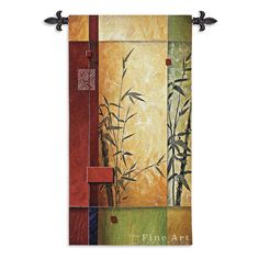 Bamboo Reeds Abstract Art Tapestry Wall Hanging