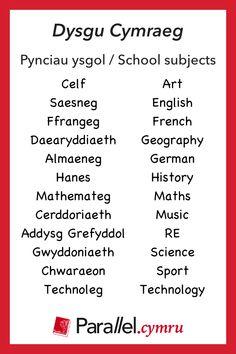 Dysgu Cymraeg / Learn Welsh ~ Vocabulary builder ~ Pynciau ysgol / School subjects Learn Welsh, Welsh Words, Welsh Language, Vocabulary Builder, Cymru, School Subjects, Family History, Beautiful Words, Wales