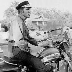 Elvis on a Harley. #elvis #originalcool #chuckabillyrules