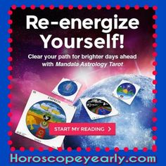 Re-energize Yourself With a Mandala Astrology #Tarot reading Free #Natal-Chart Report  #Horoscope #Tarot reading - During a psychic tarot reading, the tarot reader lays the cards out in one of a number of different arrays, or spreads, depending on the question you ask and the way the tarot reader feels would be most revealing. The cards that appear and the order in which they are arrayed enable the tarot reader to shed light on your situation and answer your questions. Some of the things tarot readers consider in a spread include: which cards appear next to each other, whether cards appear right side up or upside down, which side of the spread certain cards appear on, and whether the cards are major or minor arcana....Learn More Here: http://www.horoscopeyearly.com/free-tarot-card-readings/
