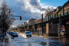 Berlin street after rain - null