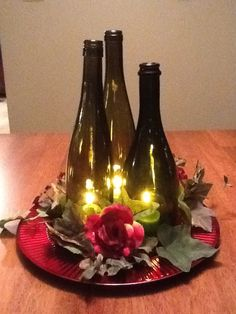 35 ideas for wedding centerpieces diy wine bottles Wine Bottle Centerpieces, Wedding Wine Bottles, Wine Bottle Candles, Candle Centerpieces, Wedding Table Centerpieces, Wine Bottle Crafts, Wedding Decorations, Centerpiece Ideas, Wine Glass