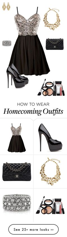 """Homecoming"" by keira1989 on Polyvore featuring Chanel, Badgley Mischka, Oscar de la Renta, Mark Broumand and Laura Geller"