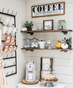 Just 7 Farmhouse Coffee Bar Ideas Guaranteed to Brighten Up Your Morning Routine — Hunker - - If you're looking for a new way to bring farmhouse decor ideas into your home, give some thought to farmhouse coffee bar ideas. Coffee Area, Coffee Nook, Diy Coffee Shelf, Coffee Cup, Bunn Coffee, Night Coffee, Espresso Coffee, Starbucks Coffee, Coffee Tables