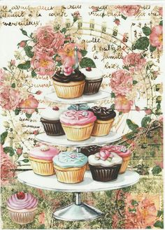 Rice Paper for Decoupage Decopatch Scrapbook Craft Sheet Vintage Shabby Cupcakes | eBay