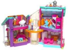 Polly Place Hangin'-out House by Mattel. $60.00. House folds and can be carried anywhere you go.. Change around all rooms again and again.. Magnetic furniture and other items stick on walls.. Polly and 3 Friends dolls that are bendable, stretchable and magnetic.. You'll become quite attached to Polly Pocket and her friends in the Polly Pocket Hangin' Out House. Theirs is a magnetic world where they and the furniture stick to the walls, ceiling and floors. Polly a...