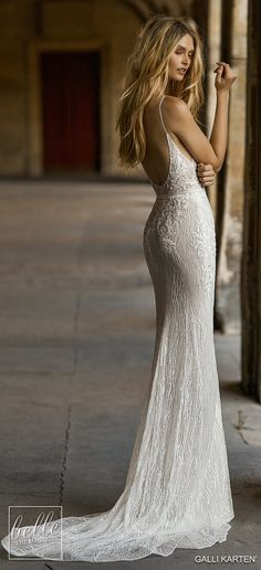 Wedding Dress Lace Gali Karten 2019 Wedding Dresses - Paris Bridal Collection - Featuring the prettiest doted fabrics, delicate bow details, and decadent beading, gorgeous doesn't even begin to describe Gali Karten 2019 Wedding Dresses Sparkly Wedding Gowns, Wedding Dresses With Straps, Gorgeous Wedding Dress, Wedding Dress Styles, Bridal Dresses, Sheath Lace Wedding Dress, Spagetti Strap Wedding Dress, Fitted Lace Wedding Dress, Sparkly Gown