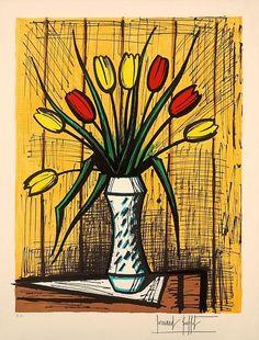 Bernard Buffet (1928-1999) Tulipes Jaunes et Rouges