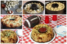 Easy Pizza Monkey Bread-uses frozen rolls, pepperoni, and mozzarella cubed for stuffing. Instead of baking in a bundt pan it can be done in a for more surface area if you like a bit crispier top! Pizza Monkey Bread, Cinnamon Pull Apart Bread, Good Food, Yummy Food, Fun Food, Football Food, Game Day Food, Appetizers For Party, Finger Foods