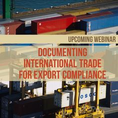 This webinar will provide an overview of the most common documents required at time of exportation. Through this session you will learn the importance of complying with import requirements at destination.   Learn more:  http://www.enterprisecanadanetwork.ca/english/events/export-success-webinar-documenting-international-trade-for-export-compliance.htm