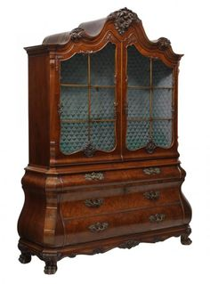 BOMBE CHINA DISPLAY CABINET, INTERIOR SILVER CHEST : Lot 753