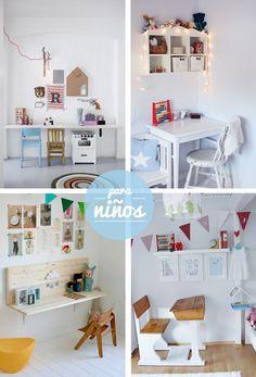 Un espacio para estudiar es muy importante en una habitación infantil. Aquí tenéis algunos ejemplos de rinconcitos que invitan a trabajar :) #niños